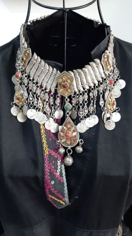 Amazing Very Rare Antique Islamic Ottoman Silver Necklace Gold Plated Stone 1293