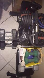 Assorted fitness equipment