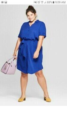 Womens Plus Size Belted Midi Shirt Dress - Ava & Viv™ -