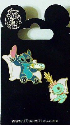 Stitch and Scrump in pillows pin set Disney Park Pins - NEW
