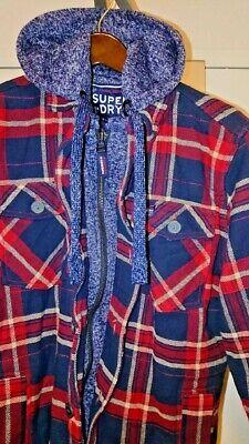 BNWT Mens SUPERDRY Flannel Hoodie Jacket Coat Red Navy Blue Grey XL