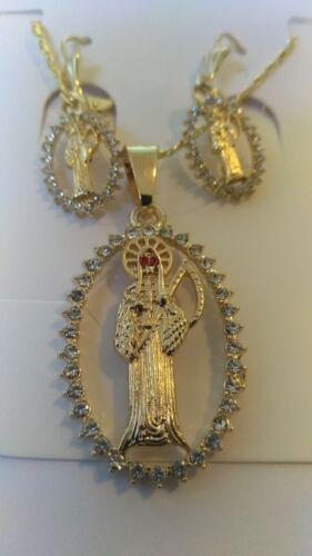 Grim Reaper Set Earrings necklace and pendant Gold Plated Set de La Santa Muerte