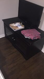 Black with glass doors tv stand