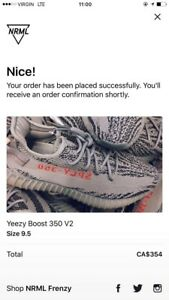 Yeezy boost 350 V2 Grey/bold orange size 9.5