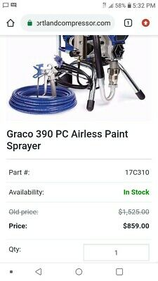 Nearly New Graco Airless 390 Pc 3300 Psi W Extra Hose And Tips