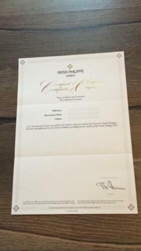 Authentic Patek Philippe Certificate paper UNFILLED
