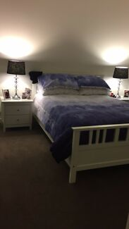 DOUBLE BED WITH MATTRESS AND MATCHING BEDSIDES