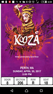1, 2 or 3 tickets Kooza Perth $80 each Fremantle Fremantle Area Preview