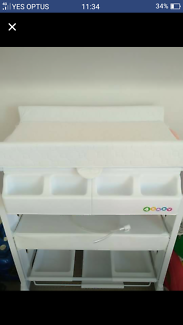 Baby change table with bath attached
