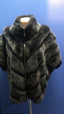 Manzoni 24 Italy Rex Rabbit Coat Jacket Vest sz it 44/M Dark Grey