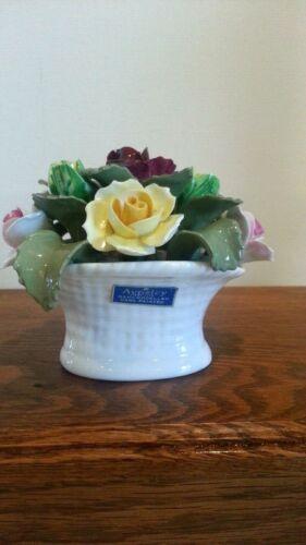 Vintage AYNSLEY Bone China June Rose Hand Modeled Hand Painted Rose Basket