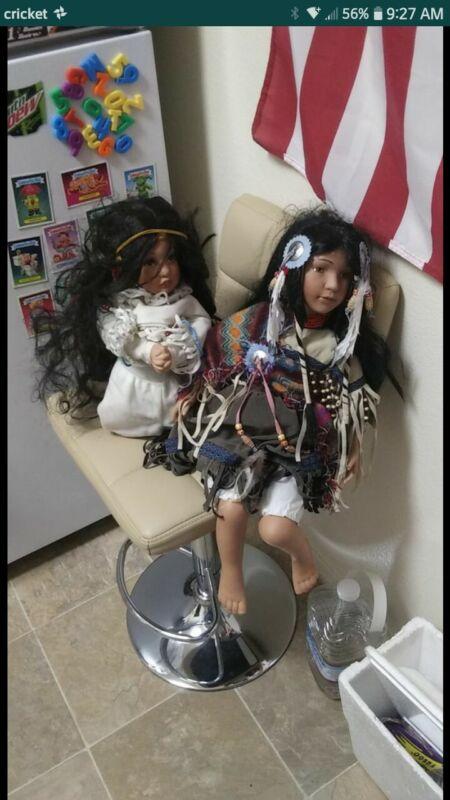 Native-American Indian porcelain dolls ×2