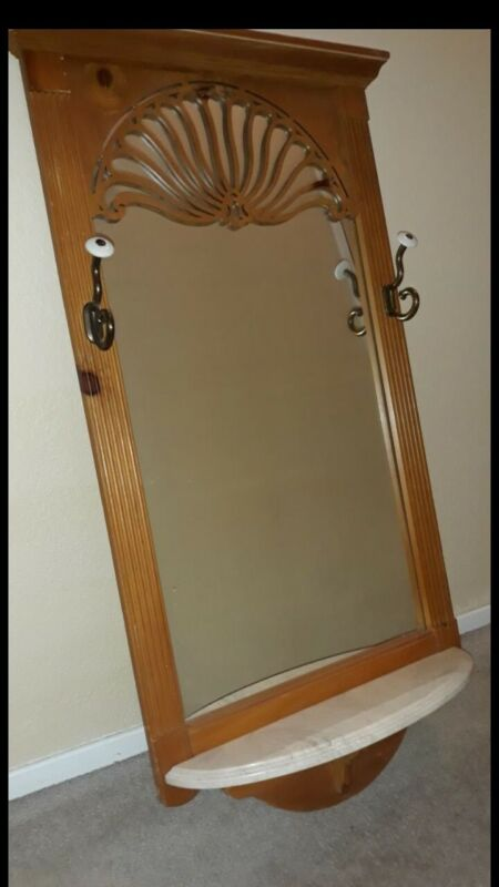 Vintage Wooden Mirrored Hall Tree / Mirror W/ Marble Shelf