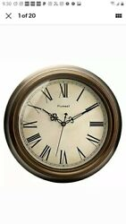 Plumeet Large Retro Wall Clock - 13'' Non Ticking Classic Silent Roman Numerals