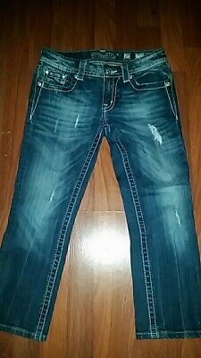 Miss Me Denim Jean Distressed Capri Bling Bling Cross Design Pockets Size 27 Distressed Denim Capris