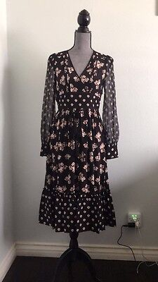 Kate Spade Mixed Ditzy Floral Printed Silk Long Sleeves Dress New Sz 2