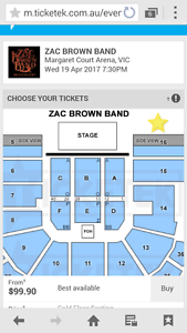 Zac brown band tickets Hampden Goyder Area Preview