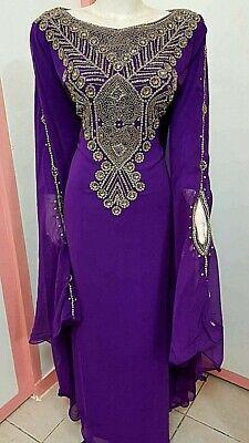 Purple Georgette Stone Work Dubai Kaftan Abaya farasha Ms Creation 0483