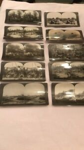 Five Antique Military Stereoview Photo Cards