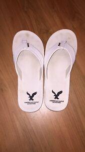 American Eagle White Flip Flops
