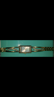 Gold plated, pearl and diamond watch