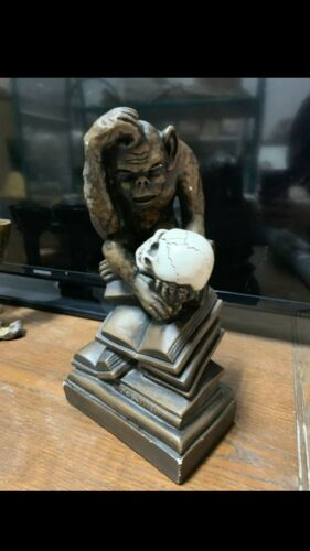 "Vintage Bronze colored Darwin Monkey w/skull statue, The ""Darwin"" 1962"
