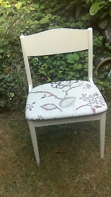 Upcycled Dining Desk Chair Cream Painted Frame Lilac Sanderson Hadham Seat