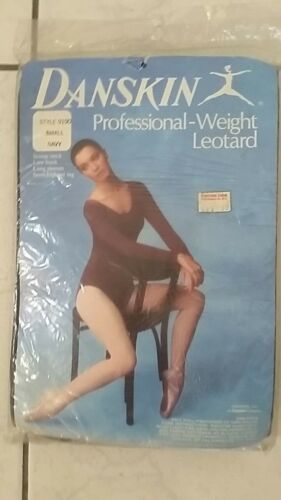 NIP Womens nylon DANSKIN leotard vintage navy blue long sleeve size small NOS