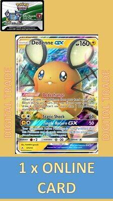1 x Pokemon Unbroken Bonds FA Dedenne-GX 57/214 Digital Card - PTCGO Online