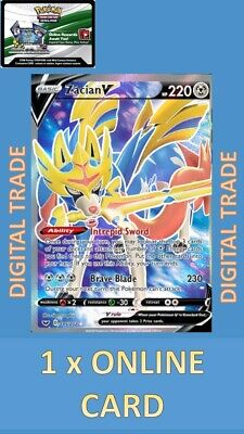 1 x Sword and Shield Zacian V Full Art 195/202 - Pokemon TCGO Online Digital