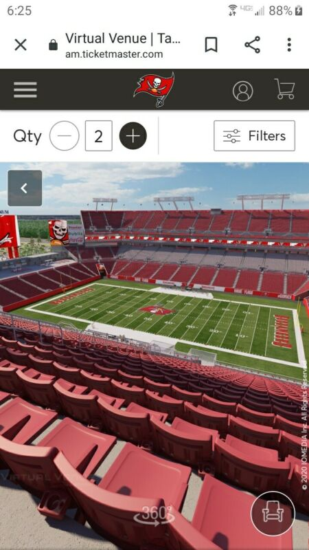 2 TAMPA BAY BUCCANEERS SEASON TICKETS SECTION 339 Row S,INCLUDES PLAYOFF RIGHTS.