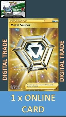 1 x Sword and Shield  Gold SR Digital Metal Saucer 214/202 - Pokemon TCGO Online