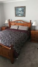 Queen size timber slat bed with matching timber bedside tables Gilmore Tuggeranong Preview