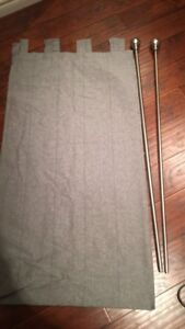 Grey Curtains with rod