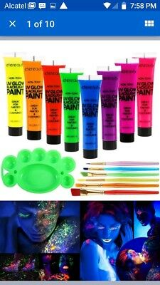 8x Glow In The Dark Party Night Halloween Makeup Face/Body Paint - Glow In The Dark Face Makeup