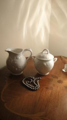 Minton Victoria strawberry white  fine bone china sugar bowl & creamer new