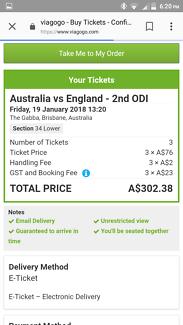 Australia vs england gabba ticket (1) friday 19 th january  1:30