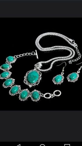 Beautiful 3 pcs jewelry set. Turquoise earrings, necklace an