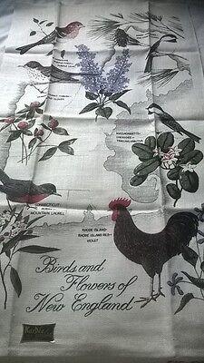 Vintage Tea Towel Birds Flowers New England Kay Dee NWT