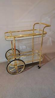 GOLD MIRROR TRAY BAR CART Drink Trolley Hollywood Regency Style Kirribilli North Sydney Area Preview
