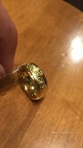 Titanium Gold Tone Engraved Ring Men/Women's