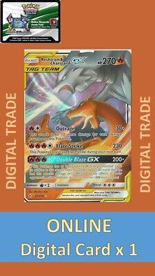 1 x Pokemon FA Reshiram&Charizard GX UB 20/214 PTCGO Digital Online Card