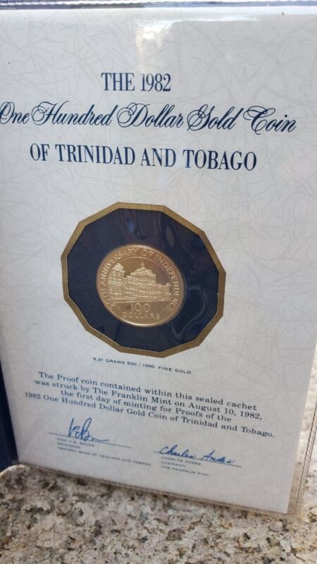 Trinidad And Tobago 1982 $100 Gold Coin Only 400 Minted Rare