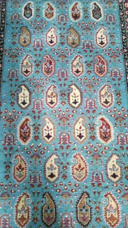 Breathtaking Turquoise Cr1930-1940s Antique 3x11ft Wool Pile Hereke Runner Rug