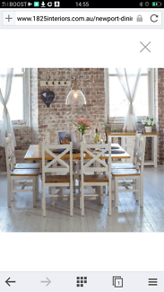 Dining table with 8 chairs.
