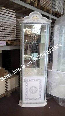 VERSACE DESIGN WHITE & SILVER ITALIAN HIGH GLOSS 1 DOOR CORNER/DISPLAY UNIT