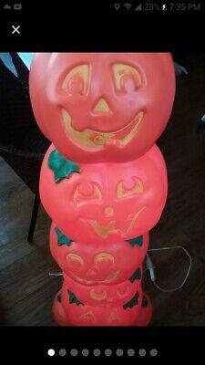 Vintage Halloween Blow Mold Stacked HAPPY Pumpkins Totem