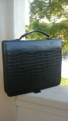 Buxton Black Leather Portfolio Folder Business Organizer
