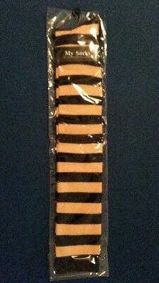 en Kniestrümpfe Überknie Gestreift  XS-M Gelb-Schwarz (Gelbe Kniestrümpfe)