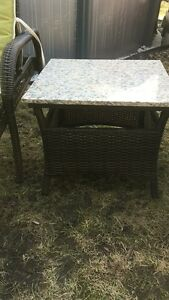 Marble Steel and Wicker Outdoor End Table